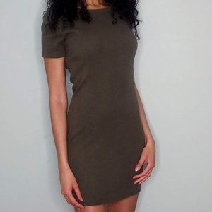 Brandy Melville Body Con T Shirt Dress Moss Green